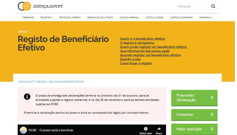 Novo Alargamento do Prazo para Registo Central do Beneficiário Efetivo